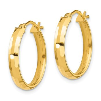 14k Gold Polished and Textured Hoop Earrings