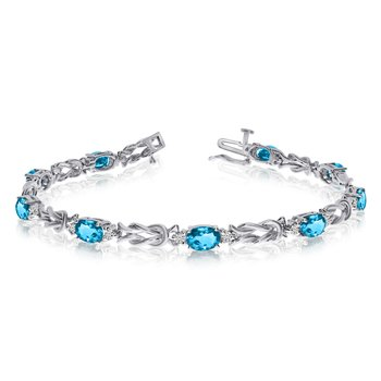 14k White Gold Natural Blue-Topaz And Diamond Tennis Bracelet