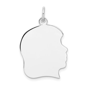 14k White Plain Large.011 Depth Facing Right Engravable Girl Charm