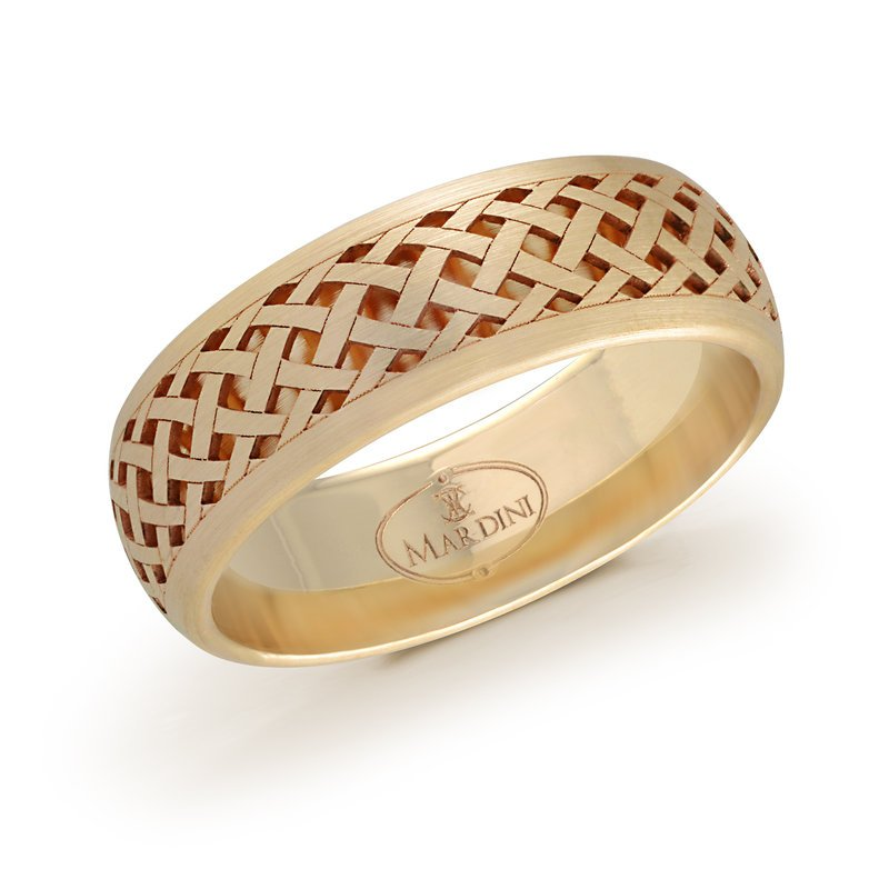 Mardini 7mm yellow gold quilted pattern cut out band