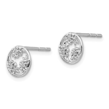 SS White Ice Diamond Flower Post Earrings