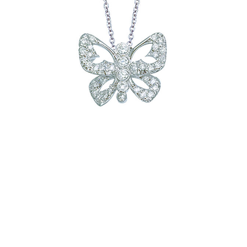 18Kt Gold Diamond Open Butterfly Pendant
