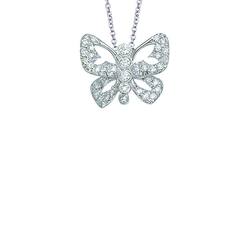 Roberto Coin 18Kt Gold Diamond Open Butterfly Pendant