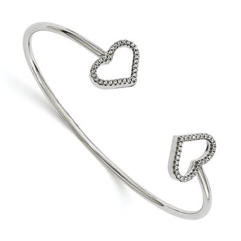 Sterling Silver Brilliant Embers Rhodium-plated CZ Hearts Bangle