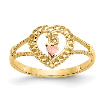 14K Two-tone 15 Heart Ring