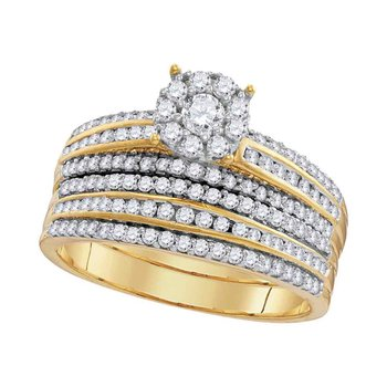 14kt Yellow Gold His & Hers Round Diamond Solitaire Matching Bridal Wedding Ring Band Set 1-1/4 Cttw