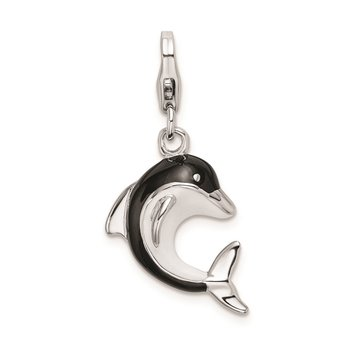 Sterling Silver RH Enameled 3-D Dolphin w/Lobster Clasp Charm