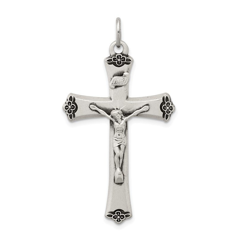 Arizona Diamond Center Collection Sterling Silver Antiqued Satin Halo and Corpus Cross Pendant