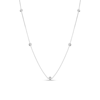 18KT GOLD 5 DIAMOND STATION NECKLACE
