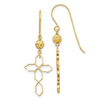 14k Cross Earrings