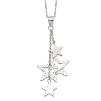 Sterling Silver Dangling Stars Necklace