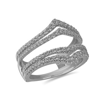 14K WG and diamond Double Arrow wedding band Wrap in micro prong setting