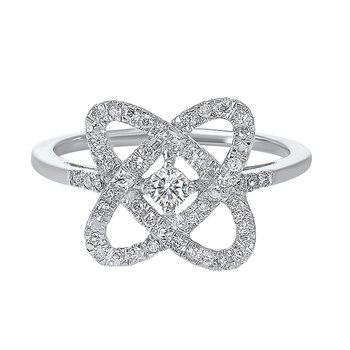 Diamond Infinity Love Heart Knot Ring in Sterling Silver (1/4ctw)