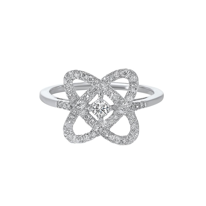 Gems One Diamond Infinity Love Heart Knot Ring in Sterling Silver (1/4ctw)