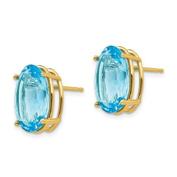 14k 14x10mm Oval Blue Topaz Earrings