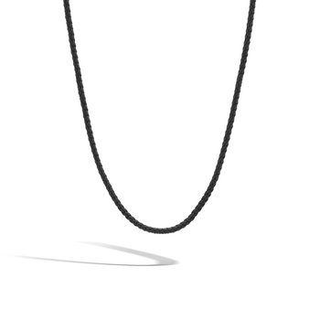 Classic Chain Silver Necklace on 3MM Black  Leather Cord
