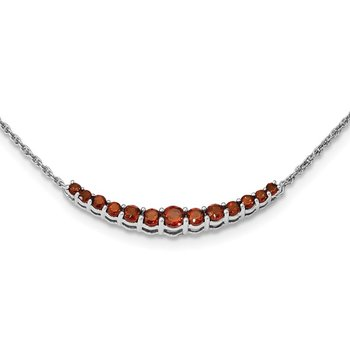 Sterling Silver Rhodium-plated Garnet Pendant w/Necklace
