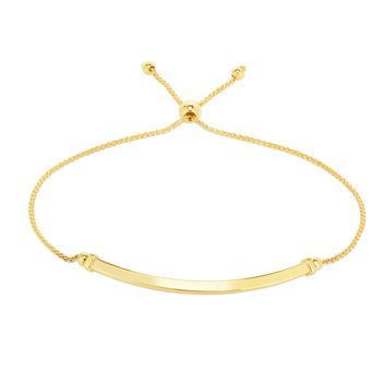 14K Gold Curved Bar Friendship Bracelet