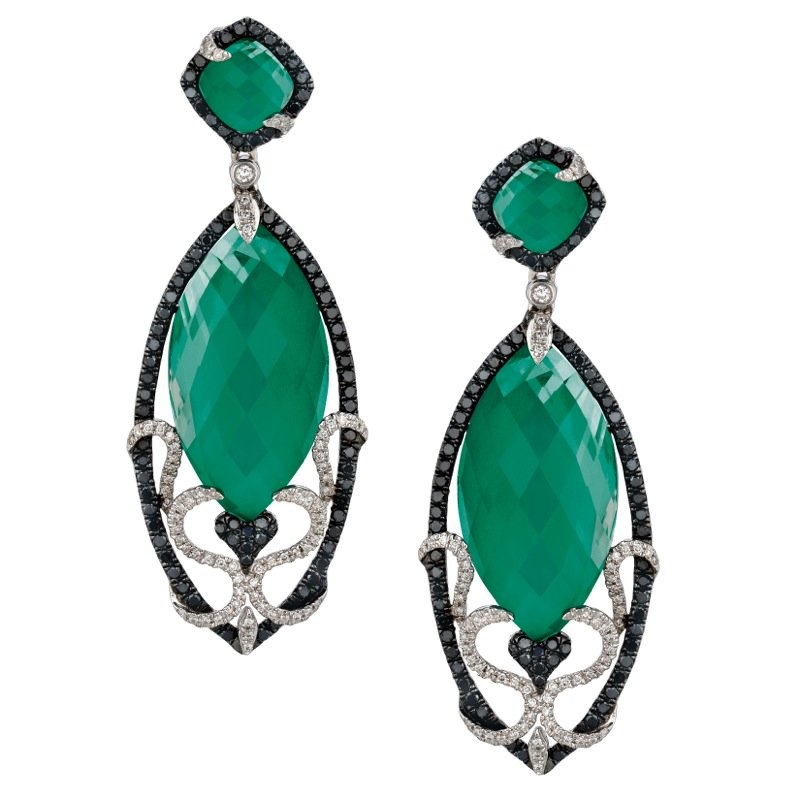 Doves Emerald Dreams Green Agate Earrings