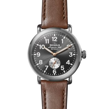 The Runwell 41mm Brushed Titanium Leather Strap Watch