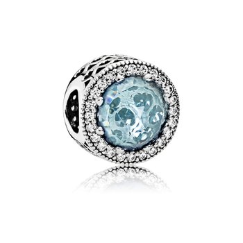 Radiant Hearts, Glacier-Blue Crystals Clear Cz