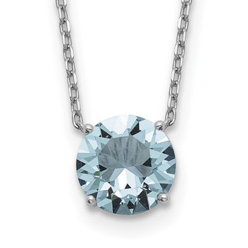 Sterling Silver RH Plated Light Blue Swarovski Crystal w/ 2in ext Necklace
