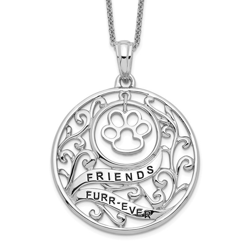 Quality Gold Sterling Silver Antiqued Animal Friends-Dog 18in Necklace