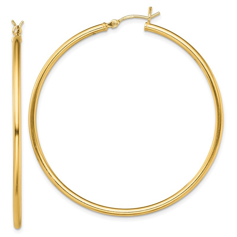 Quality Gold Sterling Silver Gold-Tone Polished 2x50mm Hoop Earrings