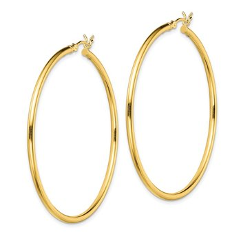 Sterling Silver Gold-Tone Polished 2x50mm Hoop Earrings