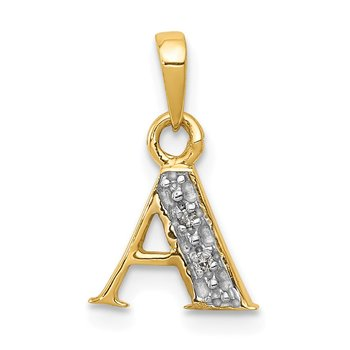 14KY with Rhodium Diamond Letter A Initial Pendant