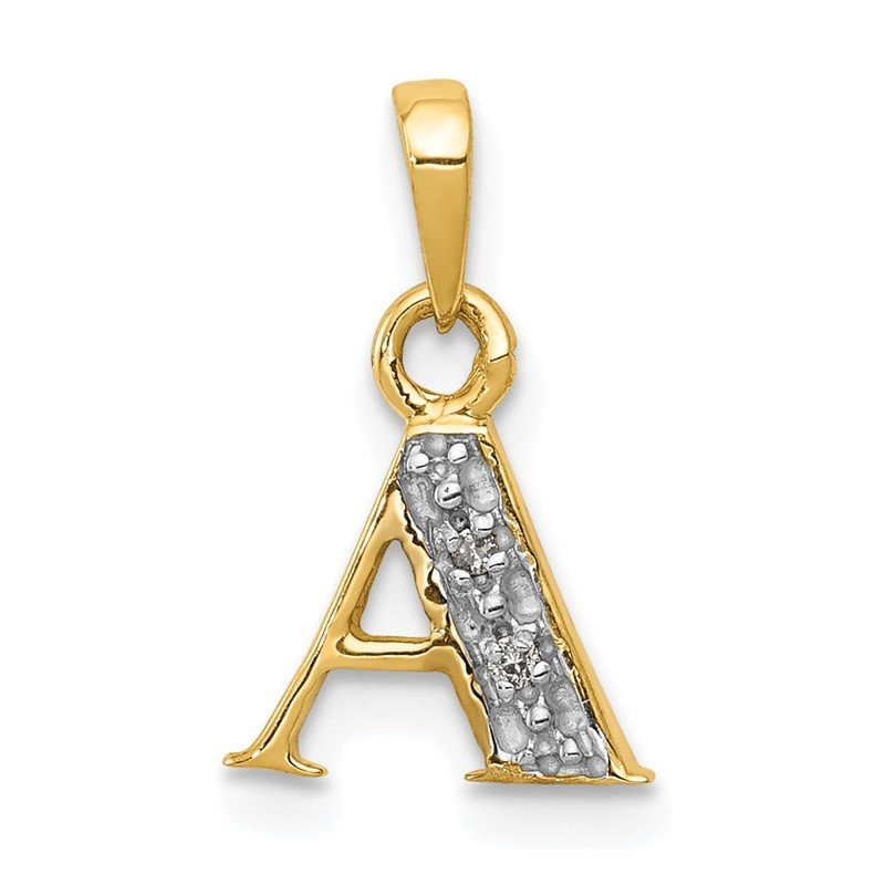 Quality Gold 14KY with Rhodium Diamond Letter A Initial Pendant