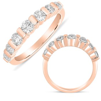 Bar Set Dome Rose Gold Ring