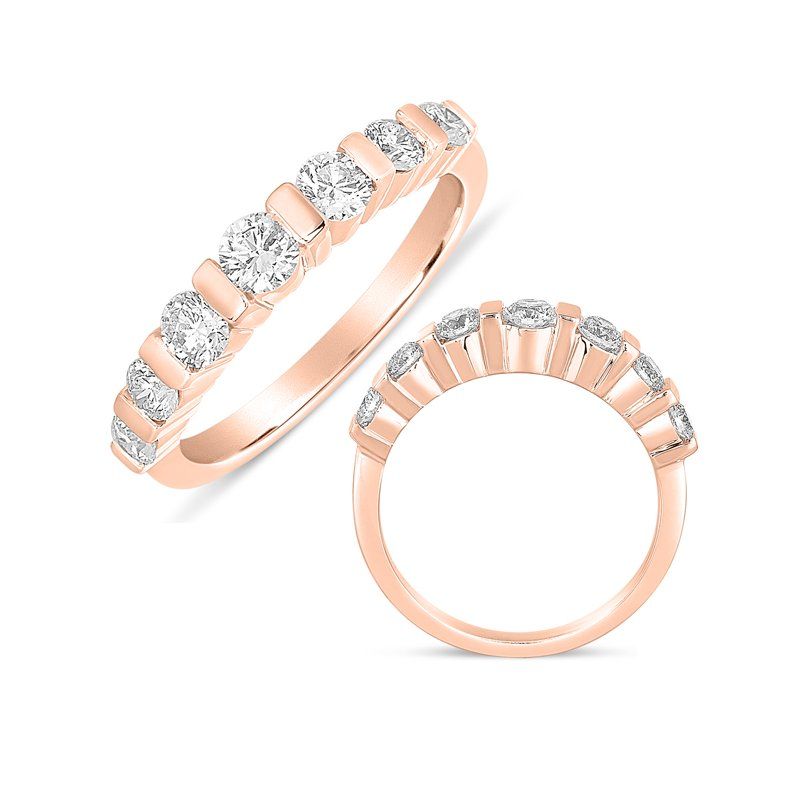 S. Kashi & Sons Bridal Bar Set Dome Rose Gold Ring