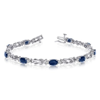 14k White Gold Natural Sapphire And Diamond Tennis Bracelet