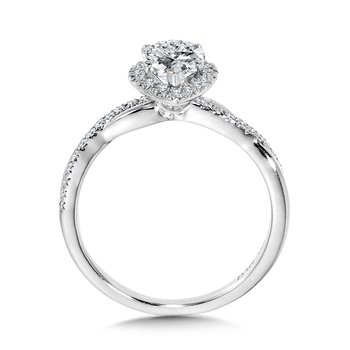 Crisscross Pear-Shaped Halo Engagement Ring