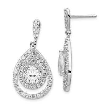 Cheryl M Sterling Silver Rhodium-plated Double Pear CZ Post Dangle Earring