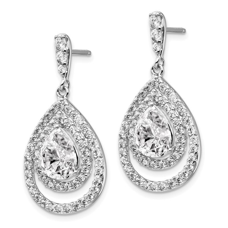 Cheryl M Cheryl M Sterling Silver Rhodium-plated Double Pear CZ Post Dangle Earring