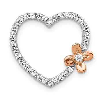 14k White Gold w/Rose Gold Flower Diamond Heart Pendant