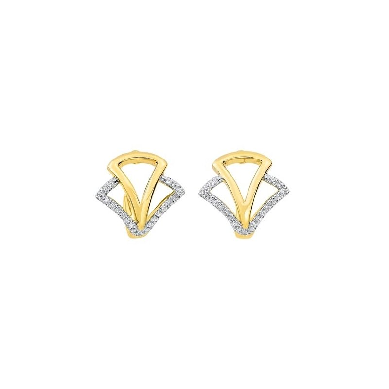 Gems One Diamond Geometric Earrings in 14K Yellow Gold (1/8 ct. tw.)