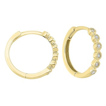 14K Yellow Gold Mixable Bezel Diamond Earrings 1/7CT