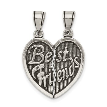 Sterling Silver Antiqued Best Friends Break Apart Heart Pendant