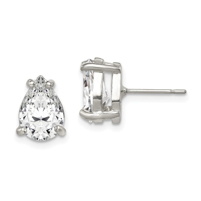 Quality Gold Sterling Silver Pear CZ Stud Earrings