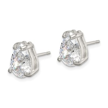 Sterling Silver Pear CZ Stud Earrings