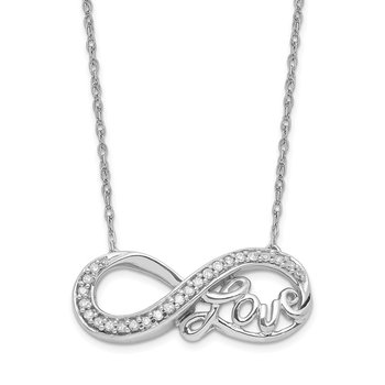 Sterling Silver Rhodium Diam. Infinity Symbol LOVE Necklace