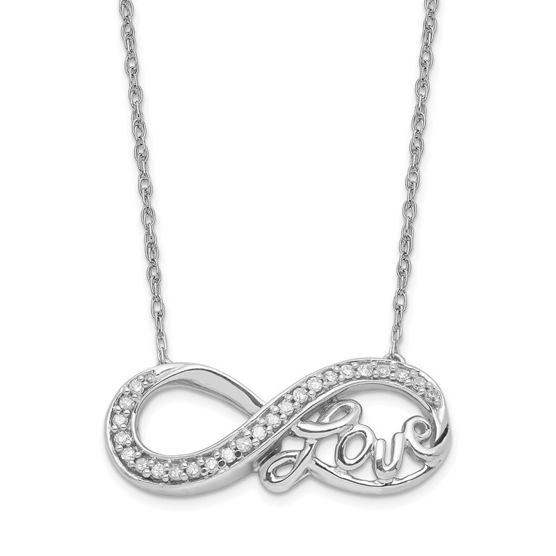 Quality Gold Sterling Silver Rhodium Diam. Infinity Symbol LOVE Necklace