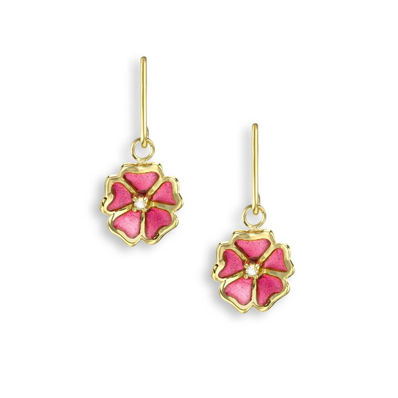Nicole Barr Designs Pink Rose Wire Earrings.18K -Diamonds - Plique-a-Jour