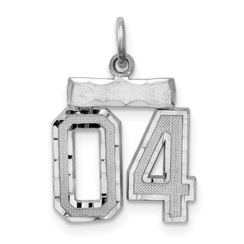 Sterling Silver Rhodium-plated Small Diamond-cut #04 Charm