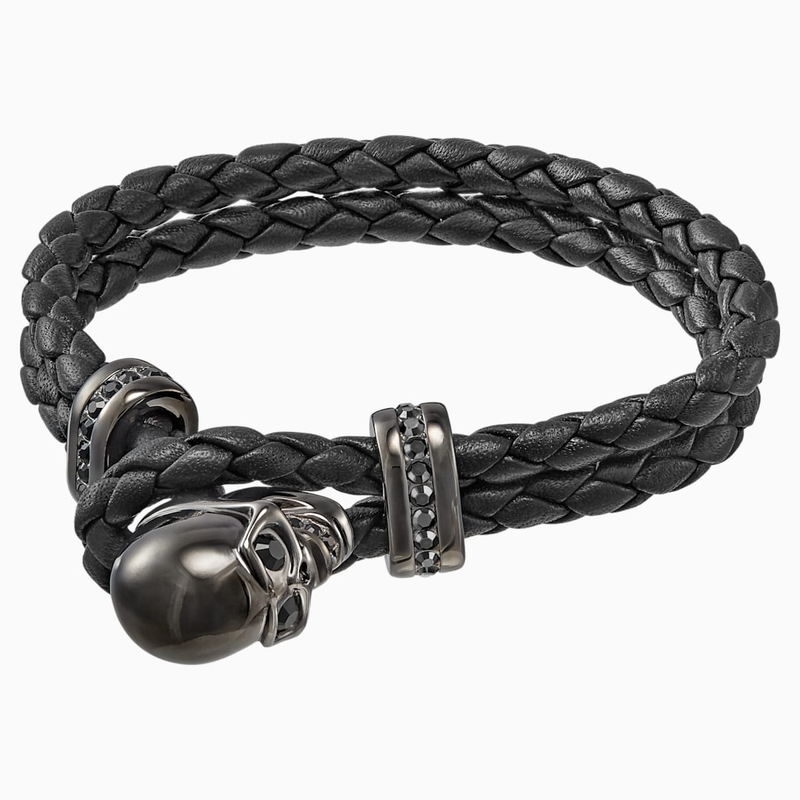 Swarovski Fran Bracelet, Leather, Black, Gun Metal plated