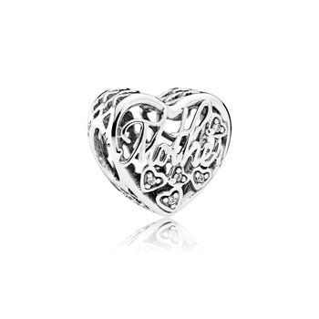 Mother Son Bond Charm, Clear Cz