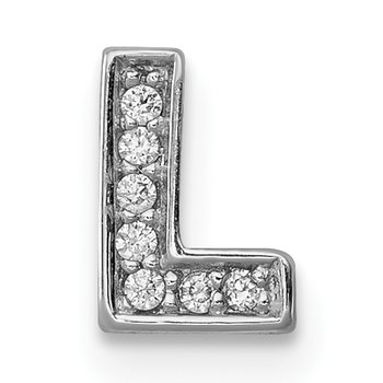 Sterling Silver Rhodium-plated CZ Letter L Initial Slide Charm